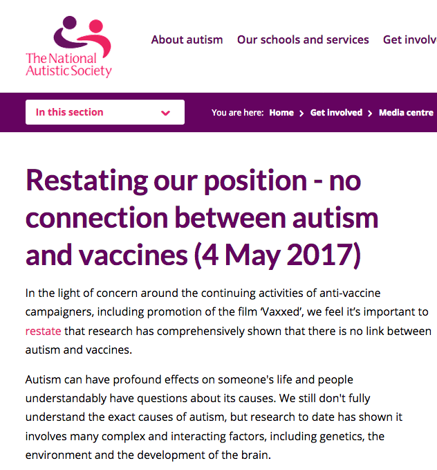 Asan Statement On Media Claims Linking >> Expert Statements On Vaccines And Autism Vaxopedia